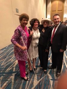 From right to left, NFB President, Mark Riccobono, Sarah Mosely, Mrs. Riccobono, NFBCA President Ever Lee Hairston